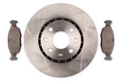 Disque de frein de véhicule avec des garnitures de frein photographie stock