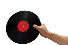 Disque de phonographe à disposition d'isolement sur le fond blanc Images stock