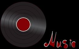 Disque de phonographe antique analogue musical de vintage de hippie de vinyle iridescent noir rétro vieux pour le phonographe et  illustration libre de droits