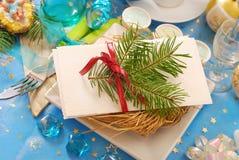 Disque de réveillon de Noël de plaque avec le foin Image libre de droits
