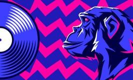 Disque de singe et de vinyle illustration libre de droits