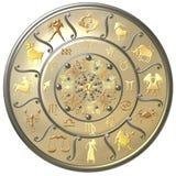 Disque de zodiaque de perle avec des signes et des symboles illustration stock