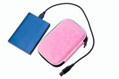 disque dur externe et caisse de bleu Photographie stock