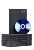Disque et cadres de DVD sur le blanc Photo stock