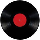 Disque noir d'album de lp de disque vinyle, le grand espace rouge vide d'isolement détaillé de copie de label de blanc de disque  Photographie stock libre de droits