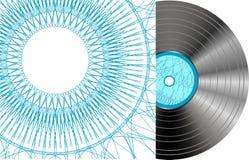 Disque noir de vinyle avec le cache abstrait Photo libre de droits