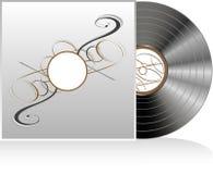 Disque noir de vinyle avec le cache abstrait de cru Images stock