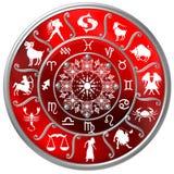 Disque rouge de zodiaque avec des signes et des symboles illustration stock