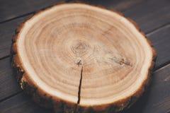 Disque vide rond en bois, texture en bois naturelle, fond Images stock
