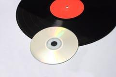 Disque vinyle de détail et disque compact Images libres de droits