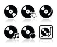 Disque vinyle, icônes du DJ réglées Photo stock