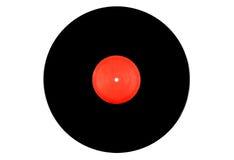 Disque vinyle noir et rouge sur un fond blanc image libre de droits