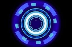 Disques au néon de la science fiction, fond abstrait, illustration 3d Photographie stock libre de droits