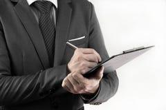Disques d'Accounting.Business dans les mains des hommes. images stock
