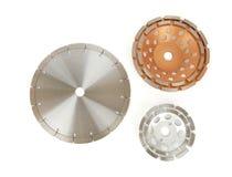 Disques de coupe avec les diamants - disques de diamant pour le béton d'isolement sur le fond blanc Photo stock
