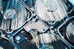 Disques durs de serveur, fibre optique lumineuse avec les lumières brouillées Images libres de droits