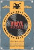 Disques vinyle et musique de tambour bas illustration stock