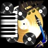 Disques vinyle, saxophone, guitare et piano de musique de fond Photographie stock libre de droits