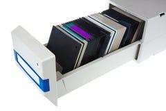 Disquetes de computador em uma caixa de armazenamento Fotografia de Stock