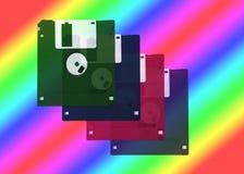 Disquetes sobre um fundo do arco-íris - retro Fotografia de Stock Royalty Free