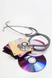 Disquettes et traitement CD Photo stock