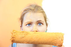 Disquiet young woman / unhappy  Improvement. Disquiet young woman / unhappy home Improvement / with wtite  background for your text Royalty Free Stock Images
