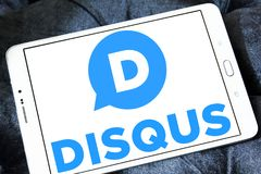 Disqus company logo. Logo of Disqus company on samsung tablet . Disqus is a worldwide blog comment hosting service for web sites and online communities that use Stock Photos