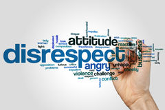 Disrespect word cloud concept on grey background.  Royalty Free Stock Photo