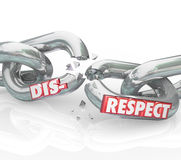 Disrespect Words 3d Chain Links Breaking Lack Respect Honor. Disrespect word on breaking chain links to show loss or separation from failing to show respect and Stock Images