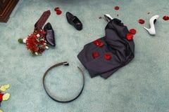 Disrobed wedding clothes Stock Photos