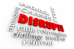 Disrupt Change Innovate Words Collage Stock Image