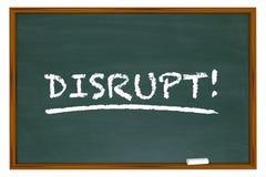 Disrupt Change Rethink Word Disruption Chalk Board Stock Photos