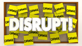 Disrupt Change Sticky Notes Word Shake Up Status Quo Royalty Free Stock Images