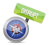 Disrupt on a compass. Symbolizing a new paradigm illustration Royalty Free Stock Image