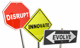 Disrupt Innovate Evolve Stop Road Street Signs. 3d Illustration Stock Images