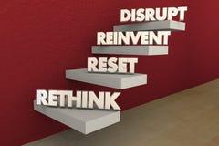 Disrupt Rethink Reinvent Reset Steps. 3d Illustration Stock Photo