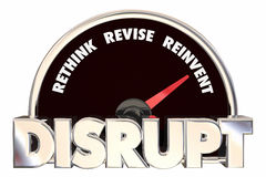 Disrupt Rethink Revise Reinvent Speedometer Stock Photography