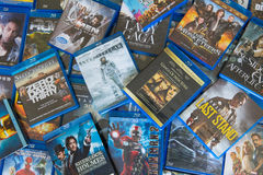 Disrupted Blu-ray Discs Movies. It's use for Home entertainment many people is audiophile, Videophile Royalty Free Stock Photos