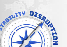 Disruption concept with compass pointing towards text stock illustration