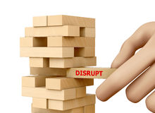 Disruption. Planning, disruption and strategy in business, businessman gambling placing wooden block on a tower 3d rendering Stock Photos