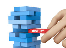 Disruption. Planning, disruption and strategy in business, businessman gambling placing wooden block on a tower 3d rendering Stock Images