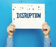 Disruption text on a white poster. On a blue background Royalty Free Stock Photography