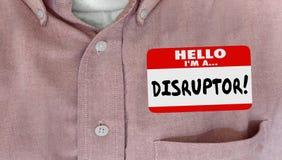 Disruptor imienia etykietki zmiana Wprowadza innowacje Nowych pomysły royalty ilustracja