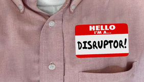 Disruptor Name Tag Change Innovate New Ideas Stock Photos