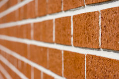 Dissapearing bricks. Red brick wall close up shot with selective focus drifting off to blurry Royalty Free Stock Photography