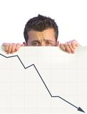 Dissapointed business man - graph 1 Stock Images