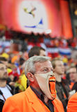 Dissapointed Dutch supporter during final match. JOHANNESBURG - JULY 11: Final at Soccer City Stadium: Spain vs. Netherlands on July 11, 2010 in Johannesburg Royalty Free Stock Photos