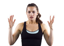 Dissappointed Fitness Trainer. Young female fitness trainer Stock Photo