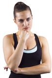 Dissappointed Fitness Trainer. Young female fitness trainer is dissapointed Stock Photos