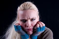 Dissatisfied. The face of dissatisfied girl Stock Images